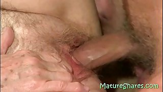Muscled guy fucking 70yo hairy granny