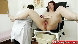 Hairy grandma enema during a medical exam