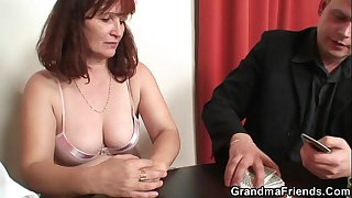 Granny plays strip poker then gets double dicked