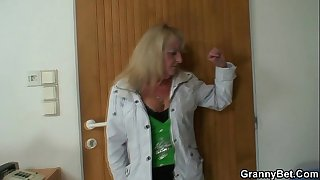 Blonde granny pleases a stranger