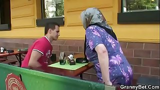 Guy picks up and busty granny for sex