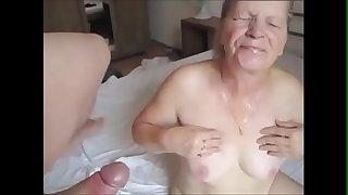 Grandma Sucking Young Dick and Get Facial