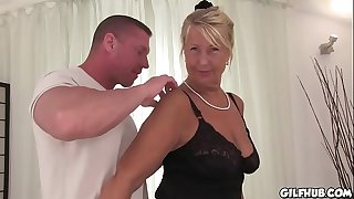 Naughty granny fucked infront of camera in hotel room