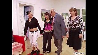Hot babes suck grandpa's cock