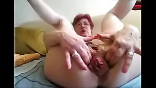 hot granny from hotpornocams.com masturbate on cam