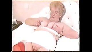 Amateur old fat granny masturbating