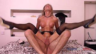 French hairy old MILF Marina Beaulieu orgasm anal