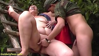 ugly fat 80 years old mom first outdoor threesome