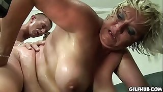 Fat GILF gets her hairy pussy fucked by horny dude