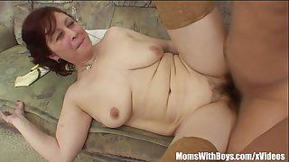 Stepmom In Stockings With Hairy Pussy Fucked