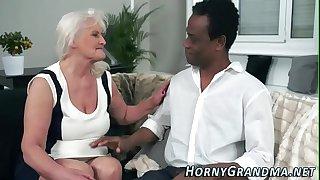 Blacked granny mouthful
