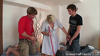 Very old cleaning woman is double fucked