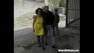 Russian Mature In Stockings Takes On Three Cocks