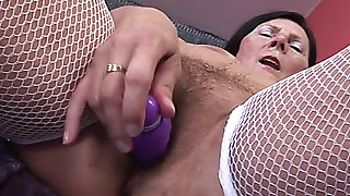 60+menacing grandma enjoys vibrator and youthful man's 10Pounder