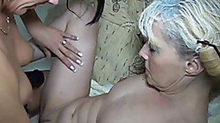 Granny gets fucked with a strapon