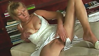 A slutty blonde granny masturbates then get her mouth and wet cunt banged very hard