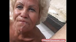 Blonde grandma Ella mouth fucked