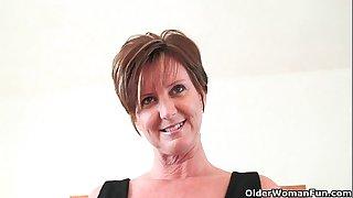 Classy grandma Joy gets fingered and masturbates with dildo up her ass