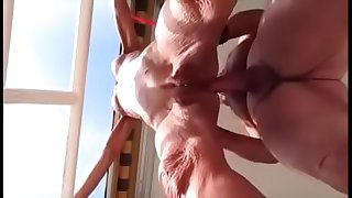 Wrinkled body grandma anal fucked and Creampied