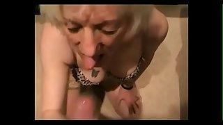 Hot grandma sucking dick and get cum in mouth