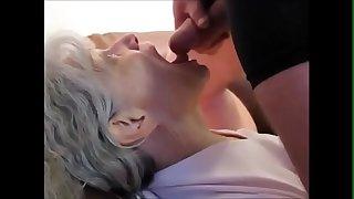 White hair grandma sucking cock and drink cum