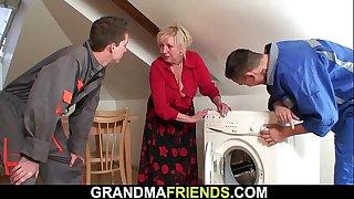 Two repairmen fuck old blonde grandma