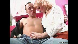 Blonde granny in stockings takes pounding