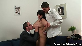 Fat bitch getting double fucked after photosession