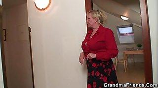 Two repairmen fuck old grandma from both ends