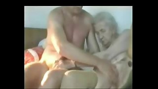 Very old granny used by young man. Real amateur