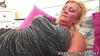 Busty granny mouthful