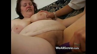 Younger guy dildos old womans ass and fucks her
