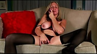 Saucy old spunker in stockings loves to fuck her juicy pussy for you