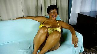 Busty old spunker talks dirty about titty fucking a lucky younger guy