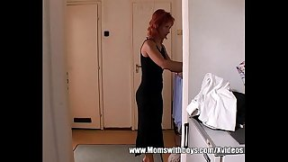 Mature Redhead Catching Stepson Jerking