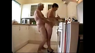 Old couple having fun. Amateur older