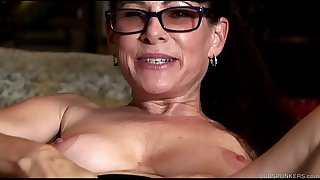 Beautiful brunette old spunker plays with her juicy pussy for you