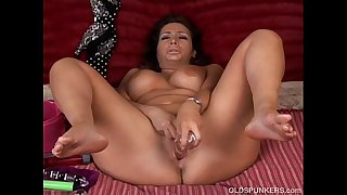 Beautiful busty brunette MILF loves to play with her juicy pussy for you