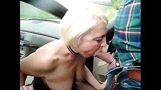 Submissive slut granny used by stranger in highway car park