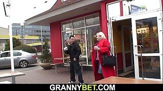 Big-boobs old granny and boy