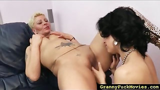 Blonde granny slut going lesbian