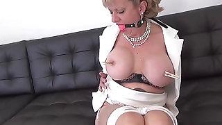 Lady SoniaBound up hawt aged blond floozy with giant milk sacks plays hawt in Solo threateningmenacing PornDoe