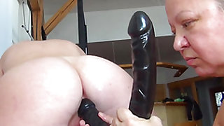 OldNanny Old chubby lady is masturbating young skinny girl with big dildo
